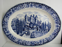 Large Blue and White Transferware Oval Serving Platter Delfts Reproduction Piece