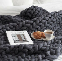 2021 home 100% Acrylic Hand Knitted Blanket Thick Yarn Soft Home Textiles