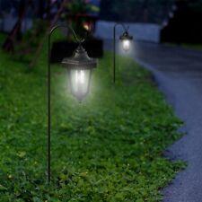 Led Solar Hanging Lights Lanterns on Shepherds Hook Metal Pole (Set of 2) 23 In