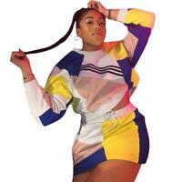 933e11fb573d3 Fashion Women Color Block Casual Long Sleeves Sweate Tops Sports Mini Dress  2pcs