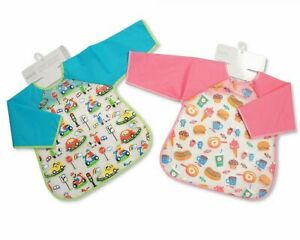 Baby Boys And Girls PEVA Bibs with Sleeves - Cars/ Food