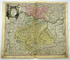 ÖSTERREICH WIEN DONAU EUROPA ALTKOL KUPFERSTICH KARTE SEUTTER 1740 AD #D948S