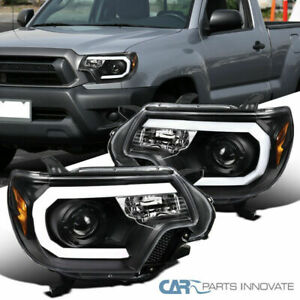 For Toyota 12-15 Tacoma Black LED Bar Projector Headlights Head Lamps Left+Right