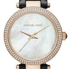 Michael Kors Mini Parker Mother-of-Pearl Rose Gold Tone Leather Watch MK2591 NIB