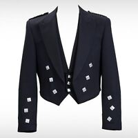 "New Prince Charlie Kilt Jacket With Waistcoat/Vest - Sizes 36""- 54"""