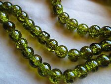 CRYSTAL GLASS BEADS, ROUND, 8 MM, CRACKLE STYLE OLIVE GREEN 300 CHARMS, SPACERS