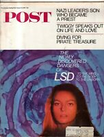 1967 Saturday Evening Post August 12  LSD; Twiggy; Diving for Treasure; Nazi son
