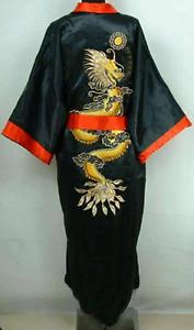 Men's Dragon Kimono Chinese Men Silk Satin Robe Gown Double-Face Bathrobe Dress-