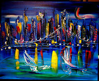 HEART of CITY  ORIGINAL OIL ABSTRACT PAINTING CONTEMPORARY CANADIAN WERG