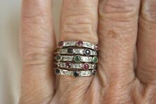 ANTIQUE EDWARDIAN ROSE GOLD DIAMOND RUBY EMERALD SAPPHIRE HAREM STACKING RING