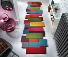 Flair Rugs Abstract Collage 100 Pure Wool Hand Carved Runner Multi 60x230 Cm