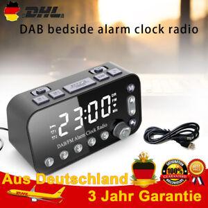 Funk DAB+ Radiowecker Tischuhr FM UKW Uhrenradio Alarm 2 USB LED Projektion