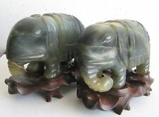 Fine Old Pair of Chinese Carved Jade Elephant Scholar's Sculptures