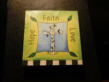 DEMDACO STORYSQUARES HOPE FAITH LOVE PLAQUE!   a248UXX
