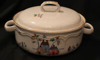 INTERNATIONAL CHINA HEARTLAND COVERED CASSEROLE DISH 1.5 QT  HANDLE 7774 HOUSES
