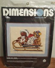 Dimensions Needlepoint Kit -Down Hill Gang 1987 NEW 18x14 Frame