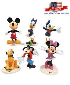 6 Pcs Mickey Mouse Minnie Donald Duck Daisy Goofy Pluto Family Figure Toy