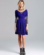 """FREE PEOPLE """"To The Point """"Blue Dress Sz.S NWT $128 WOW!"""