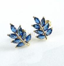 Women Lady 14K Gold Plated Simulated Diamond Dark Blue Leaf Stud Earrings Pretty