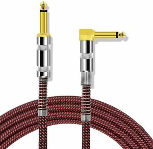 """Professional Guitar Lead 3M/10ft, 6.35mm 1/4"""" Right Angled Braided Gold Plated"""