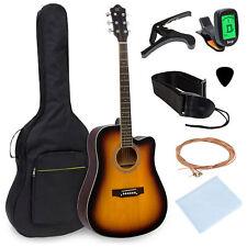 BCP 41in Full Size Beginner Acoustic Cutaway Guitar Set w/ Case, Capo, Tuner