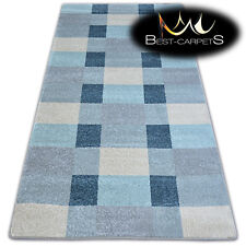 """AMAZING THICK MODERN RUGS """"NORDIC"""" grey, blue squares floor carpet small large"""