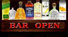 "24"" lighted liquor bottle display / shot glass display shelf Bar Open Sign"