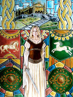 Medieval Fantasy Lord of the Rings Fan Art Rohan Eowyn Sword Girl Woman Painting