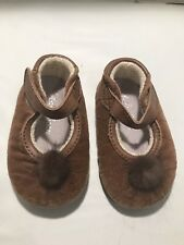 EUC Beba Bean Faux Suede Brown With A Pom Pom 3-6 Months Crib Shoes