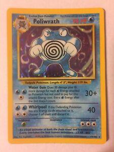 Pokémon Base Set Poliwrath Holo Unlimited 13/102 NM- Mint WOTC Vintage