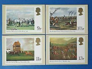 Set of 4 PHQ Stamp Postcards Set No.36 Horse Racing Paintings 1979 CH0