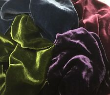 "Silk VELVET Victorian JEWELS Colors Fabric Sample Set Remnants Lot 6""x22"" each"
