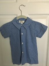 Strasburg Blue and White Button Up Short Sleeve Shirt - 5Y