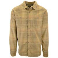 prAna Men's Brown Orange Yellow Plaid Corduroy L/S Flannel Shirt (S10)