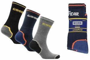 3-12 Mens Goodyear Work Boot Socks Size 6-12 Cushion Reinforced Steel Heel Toe