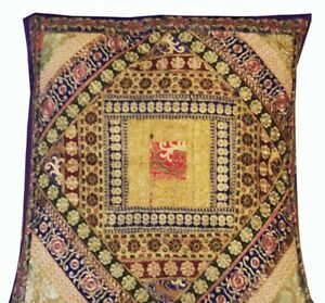 """30"""" PURPLE VINTAGE INDIA SARI BEADED HANDCRAFTED MOTI THROW CUSHION PILLOW COVER"""