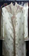 Mens indian bollywood wedding ivory cream designer Sherwani
