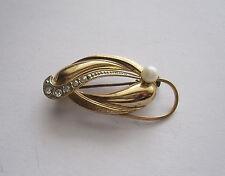 Modeschmuck, Brosche, goldfarben mit weißem Strass und Perle, 4 cm lang, *