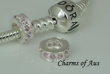 Sterling Silver 925 Pink CZ spacer charm. Gorgeous Christmas Gift