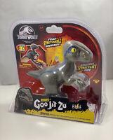 Jurassic World Heroes of Goo Jit Zu Velociraptor Blue Stretch 3x Dinosaur New