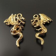 20pcs Vintage Gold Alloy Winged Dragon Look Charms Pendants Jewelry Crafts 33055