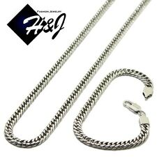 """Cuban Curb Chain Necklace Bracelet 24""""Men's Stainless Steel Smooth 6mm Silver"""