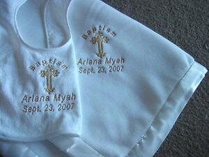 Personalized Baptism Christening God Bless Baby Blanket Satin Trim Bib set