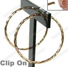 """Clip de 1,75 """"un gran giro pendientes de aro 4,5 Cm Twisted Aros Mira perforado Gold Plt"""