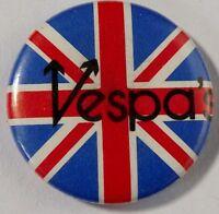 VESPA`S - Union Jack - Old OG Vtg 1980`s Button Pin Badge 25mm Scooter mod ska