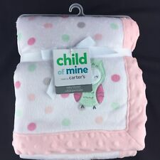 Child of Mine Owl Baby Blanket Mint Green Pink Gray White Polka Dots Carters