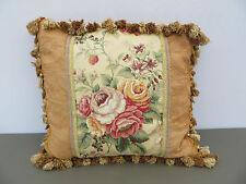 """Fancy Hand Made Pillow Floral Beige Satin Fabric Backing Zipper 18"""" X 18"""""""