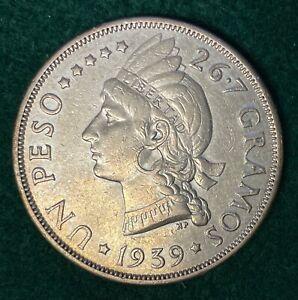 1939 DOMINICAN REPUBLIC ONE PESO SILVER CROWN KM 22 LIBERTAD 15K MINTED KEY #2