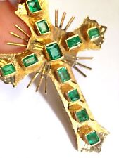Antique Style Large Brilliant Colombian Emerald 18K Yellow Gold Cross Pendant