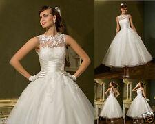 Short Tea Length Lace White/Ivory Formal Wedding Dress Bridal Gown UK Size 6-18
